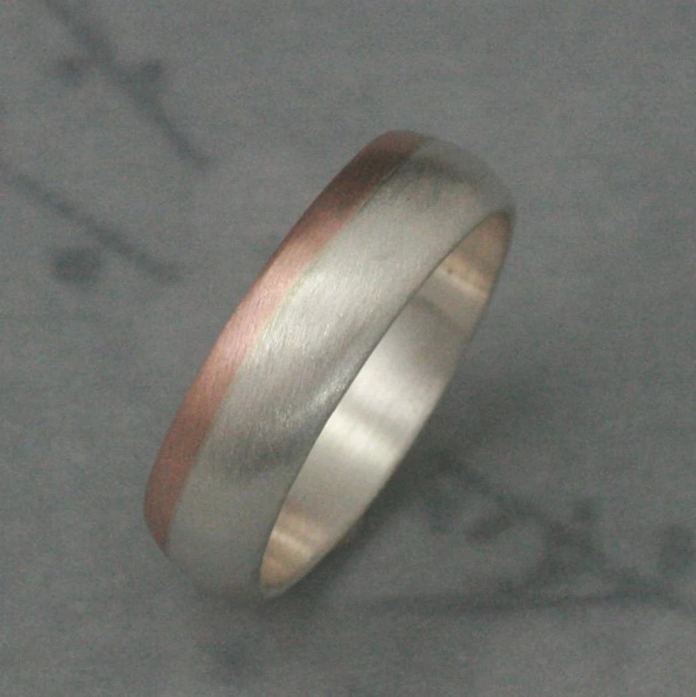 two tone gold ring two tone wedding band 14K Rose Gold and Silver Ring Two Tone Band Modern s Men s Band Men s Wedding Band 6mm Wide Band Men s Wedding Ring Two Tone Band