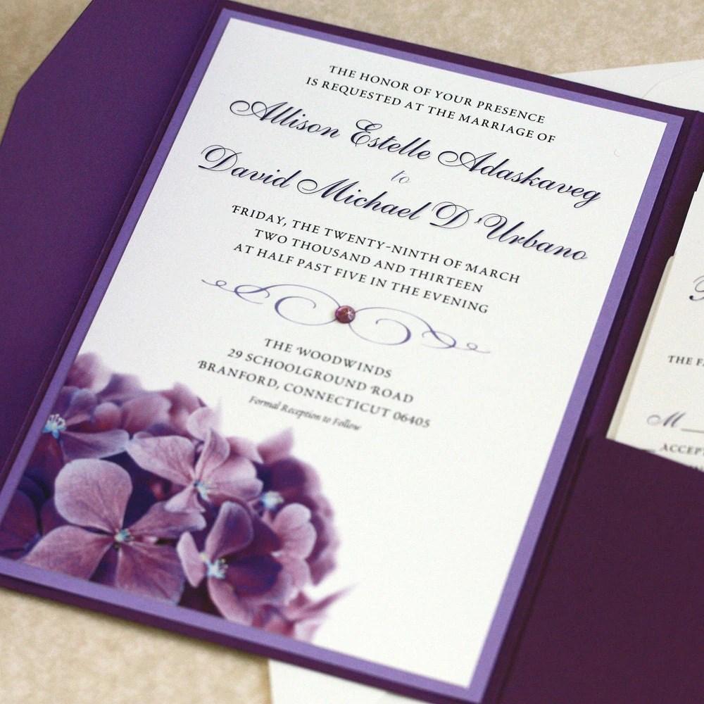 purple hydrangea wedding invitation sample wedding invitations Purple Hydrangea Wedding Invitation SAMPLE zoom