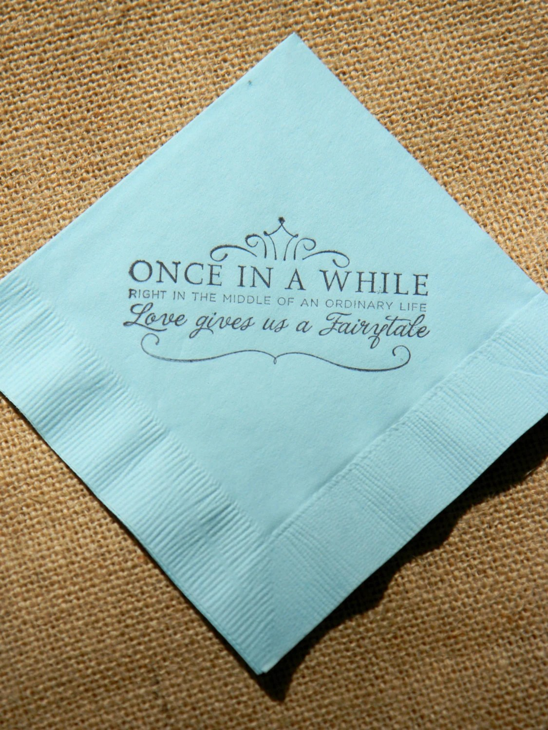 blue napkins napkins for wedding Fairytale Love Light Blue Paper Wedding Cocktail Napkins Once in a While Crown Stamped Set of 50