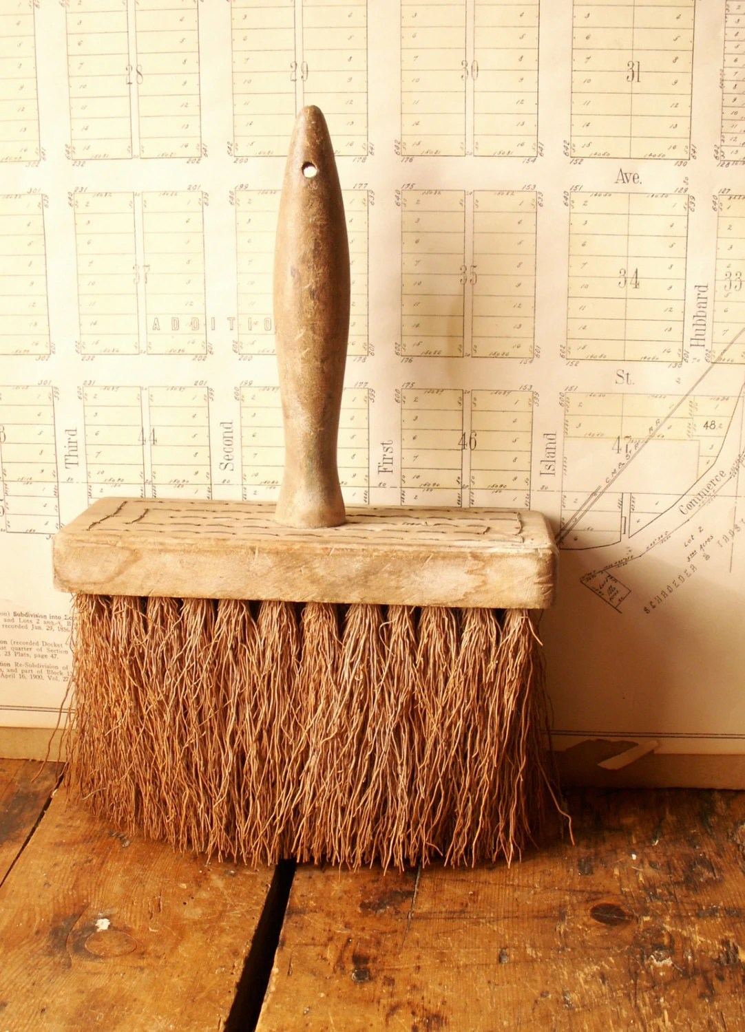 Large Vintage Wallpaper Brush - Hand Broom with rough bristles