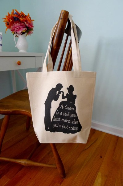 Cinderella tote bag, disneys cinderella, cinderella, tote bag, a dream is a wish your heart makes