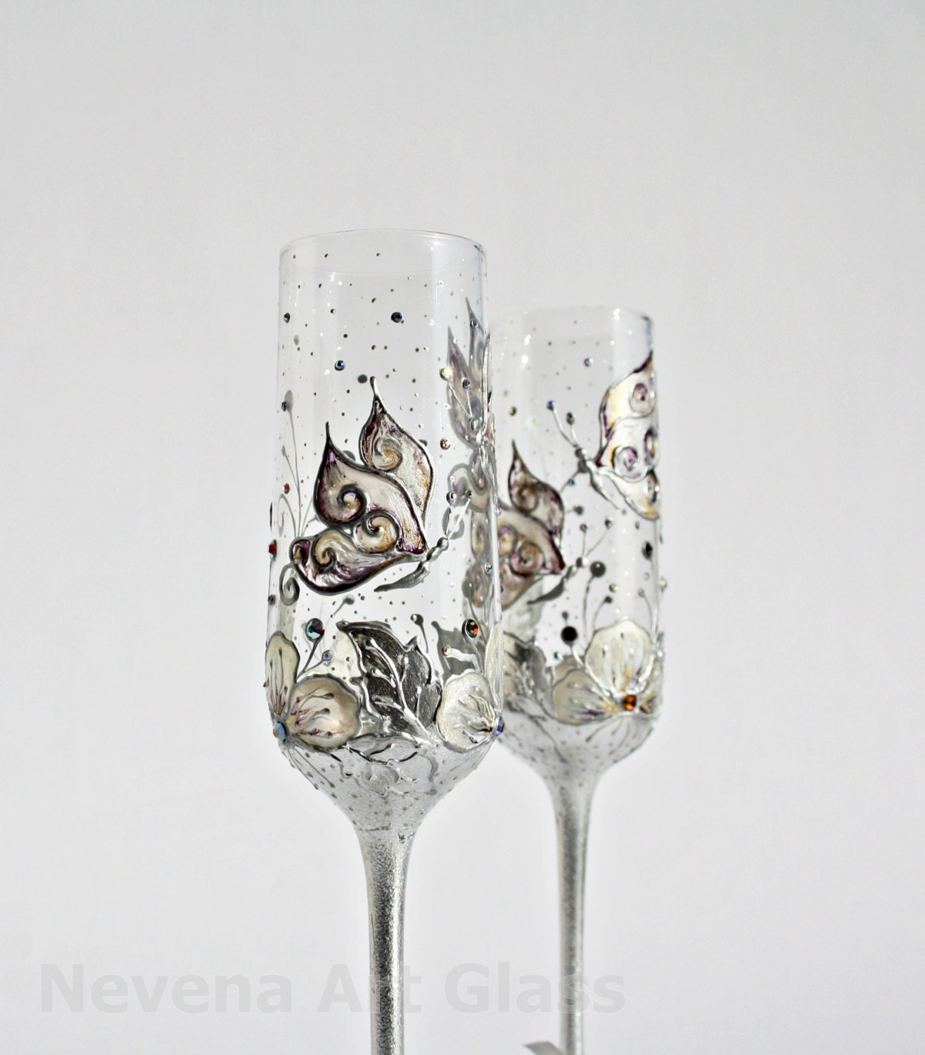 wedding glasses butterfly and flowers wedding glasses zoom