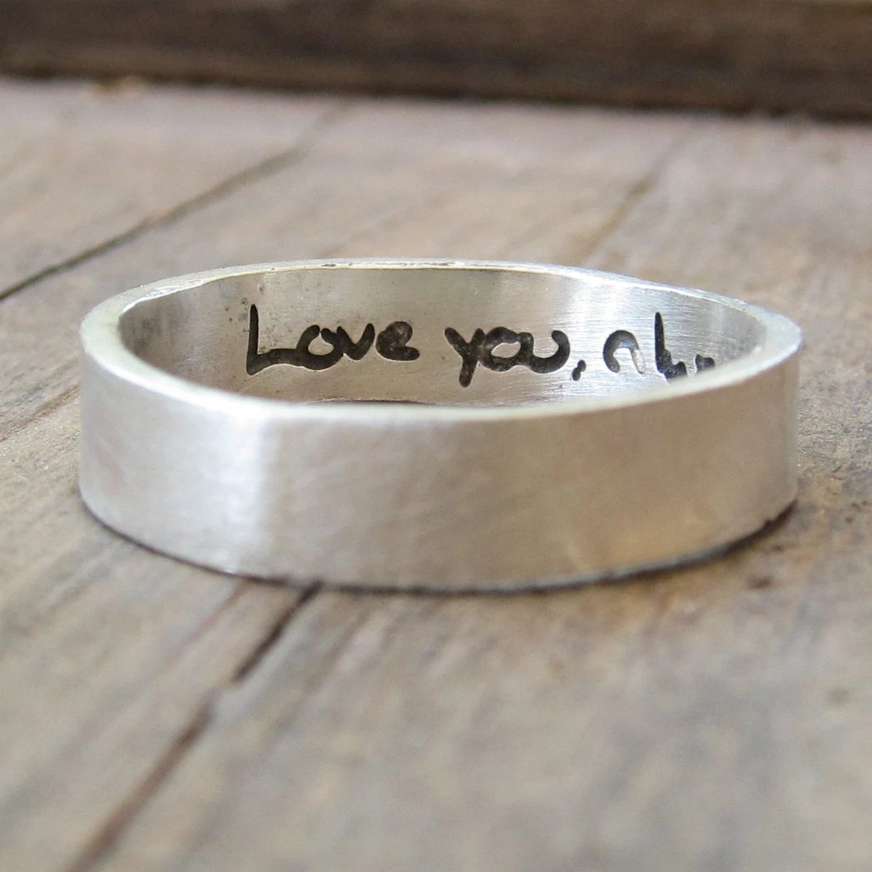 personalized ring actual handwriting wedding ring engraving Engraved Silver Wedding Band Memorial Jewelry zoom