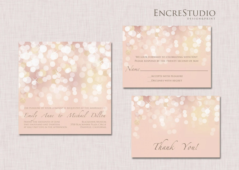 printable gold and blush bokeh wedding blush wedding invitations Blush Bokeh Wedding Invitation zoom