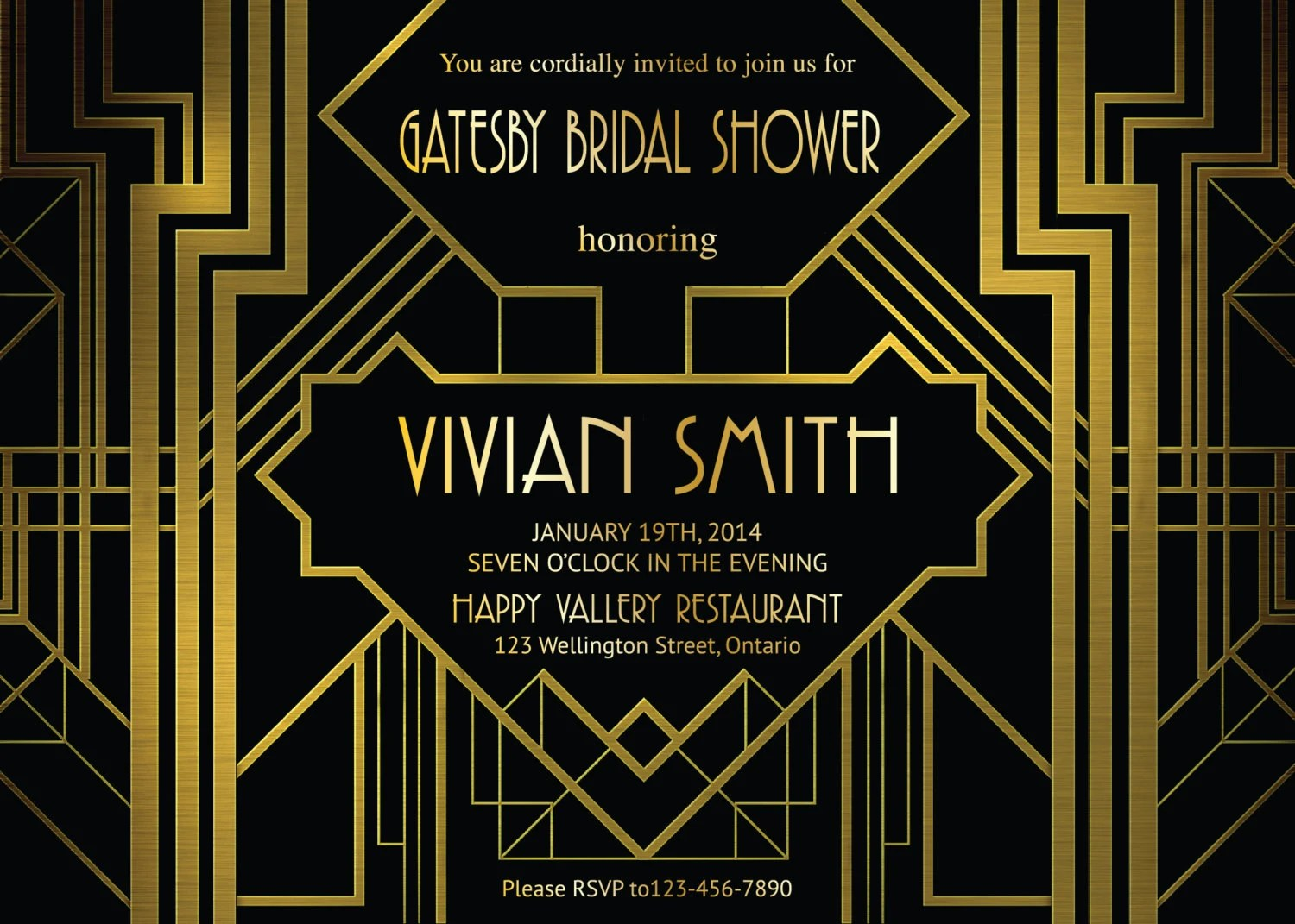 great gatsby invites great gatsby wedding invitations Great Gatsby Bridal Shower Invitation Art Deco Customized party invites Printable Digital DIY