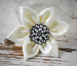 Sparkling Snowflake kanzashi style hair or clothing accessory clip OOAK Christmas or Wedding