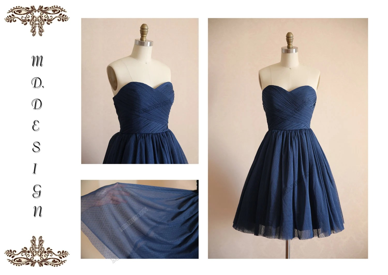 vintage navy blue polka dots tulle wedding dress by misdress 3 navy dresses for weddings Vintage Navy Blue Polka Dots Tulle Wedding Dress Bridesmaid Dress Prom Dress Strapless Sweetheart Knee Short