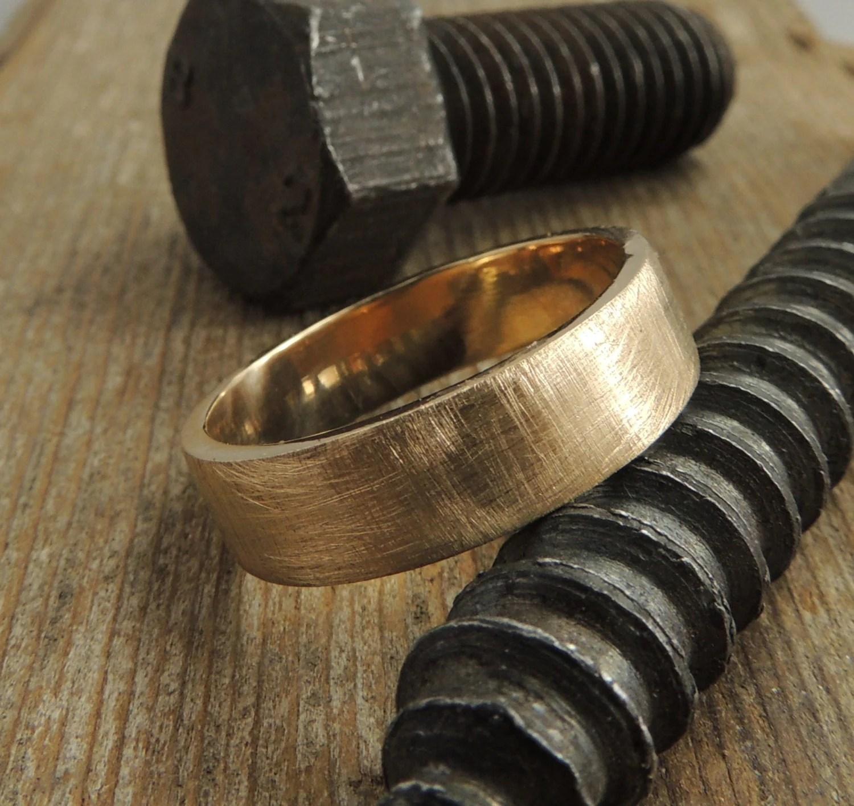 recycled 14k gold mens wedding band gold wedding bands Gold Mens Wedding Ring Eco zoom