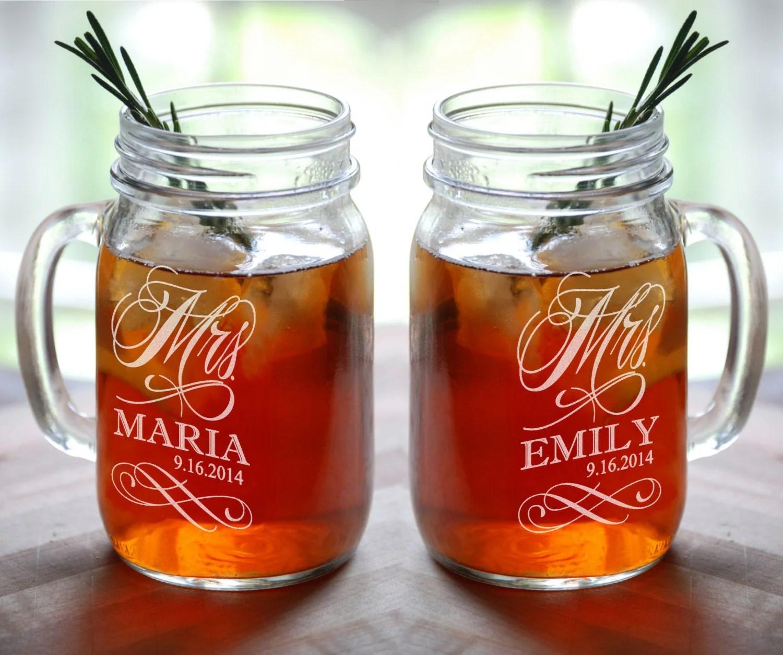 lesbian wedding lesbian wedding ideas MRS and MRS Personalized Lesbian Wedding Mason Jar Set of 2 Engraved Her Anniversary Gift Favor Idea Girlfriend Toasting Glass Civil Union