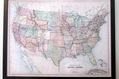 push pin map of the united states. nicely framed 1867 by