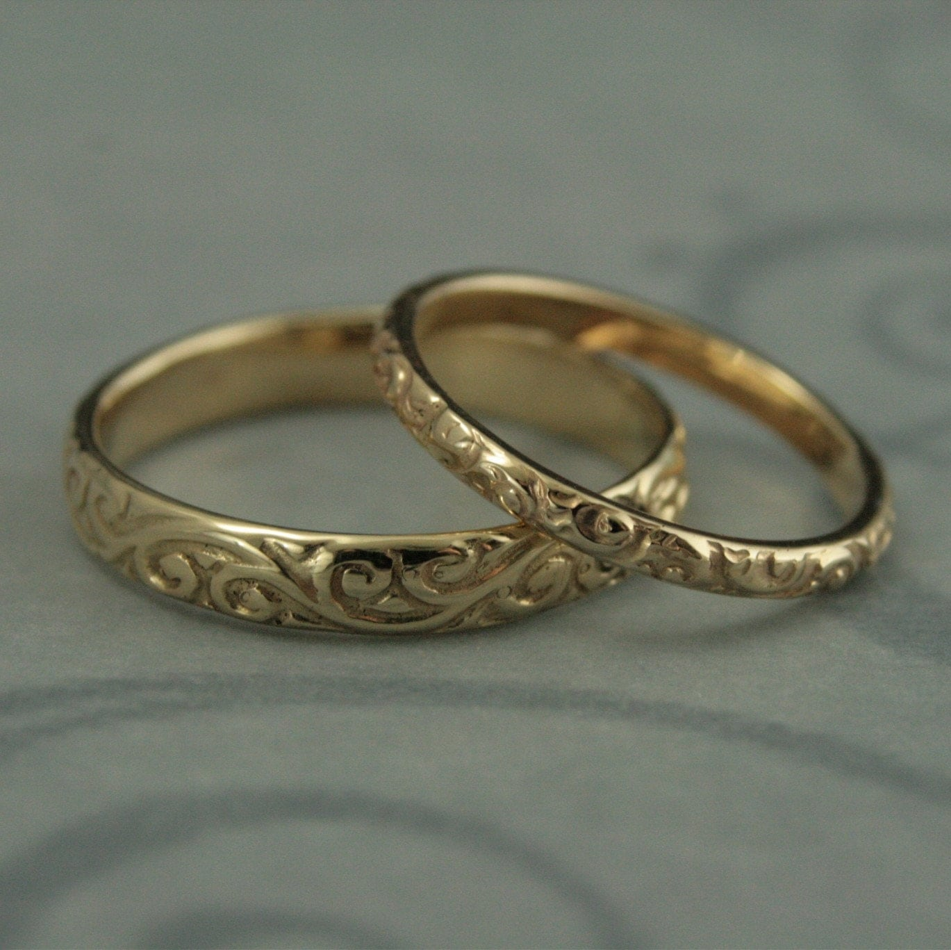 vintage wedding band vintage wedding ring sets Patterned Wedding Band Set Vintage Style Wedding Rings His and Hers Set Antique Style Rings 14K Gold Rococo Flourish Set His and Hers Bands