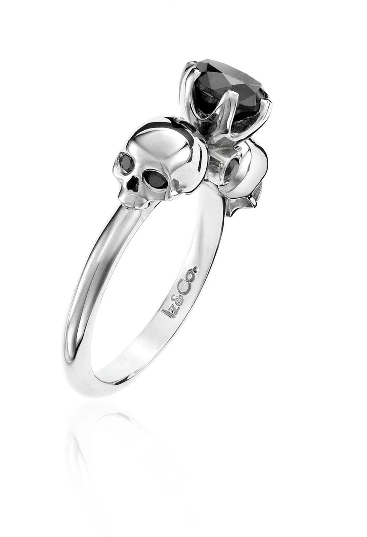 white gold 1ct black diamond skull ring skull wedding rings Diamond Skull Ring zoom