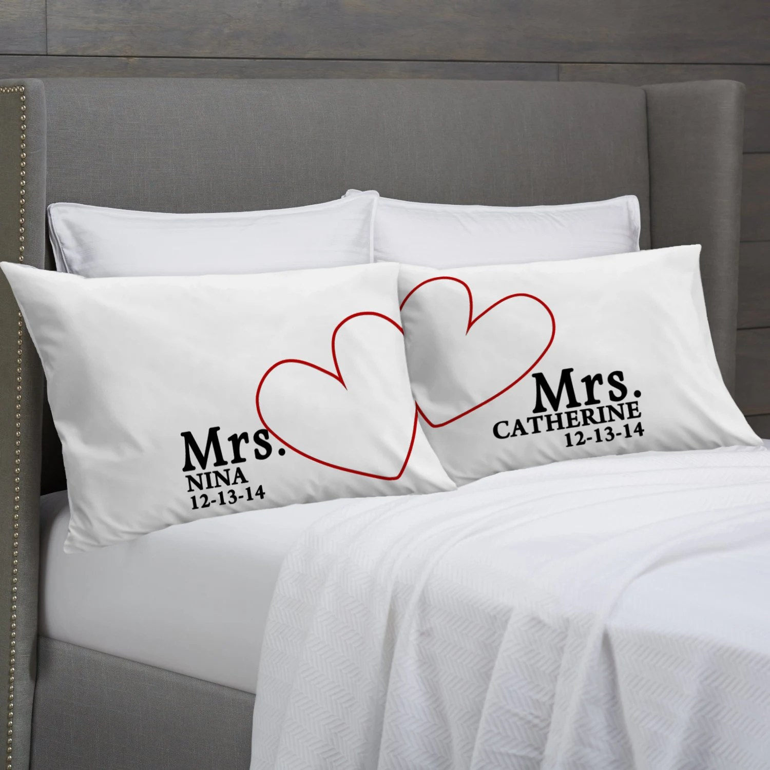 lesbian couple lesbian wedding bands MRS and MRS Personalized Pillowcases Lesbian Couple Gift Idea Wedding Civil Union Anniversary Valentines Girlfriends Pillow Cases