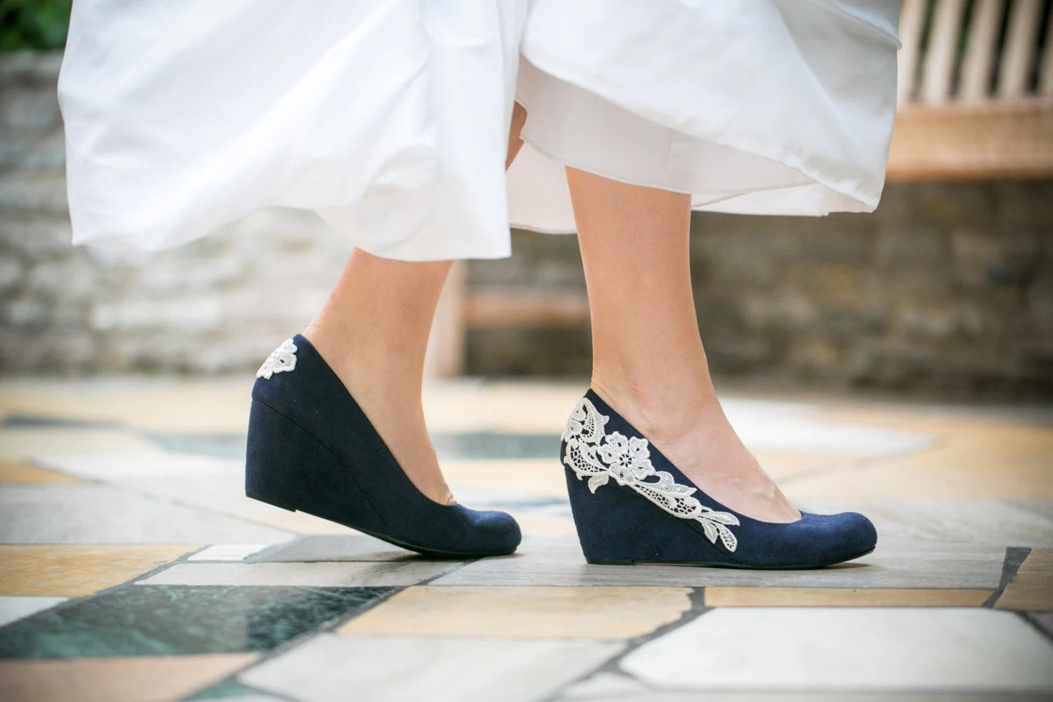wedding wedges wedding shoes wedges Wedding Shoes Navy Blue Wedges Bridal Heel Navy Wedge Blue Wedges Something Blue Bridal Heels Bridal Heels Bridesmaid Wedges with Ivory Lace