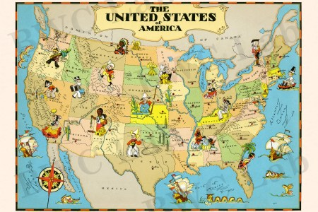 pictorial map of united states colorful fun illustration of