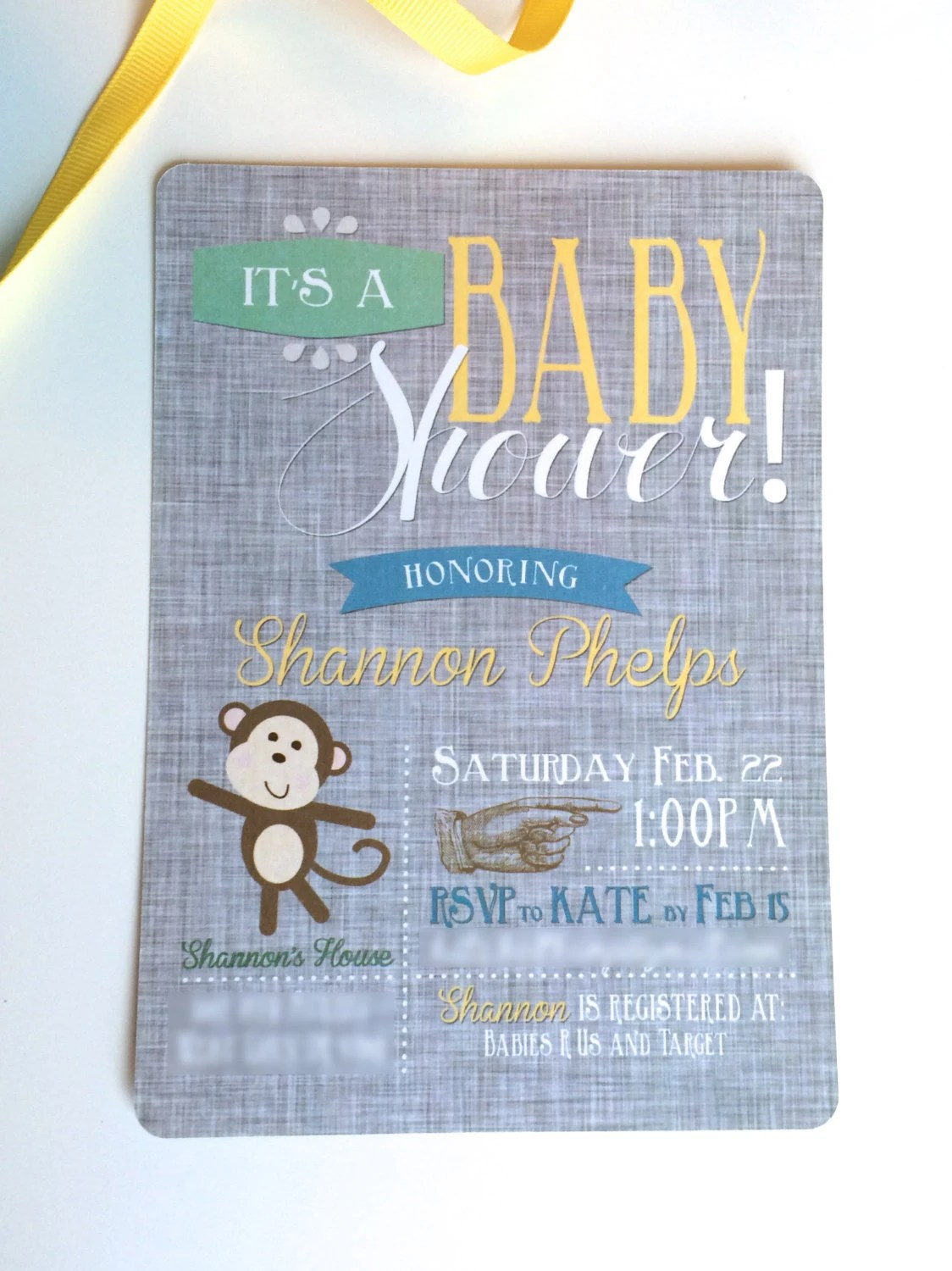 Monkey Baby Shower Invita...
