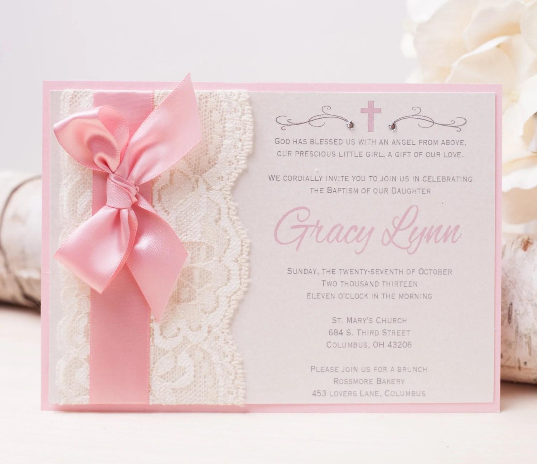 lace invitations wedding invitations with ribbon 20 OFF GRACY Lace Invitation Pink Baptism Invitation Christening Invitation Baby Shower Invitation Bow Invitation