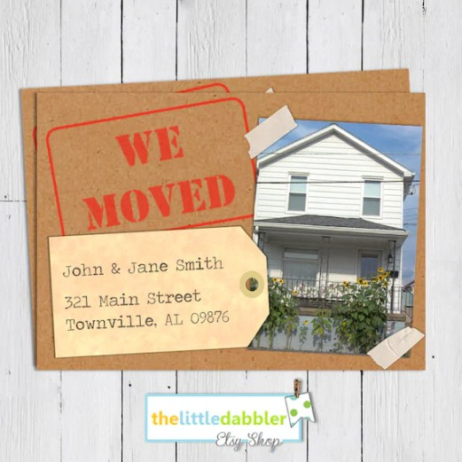WE MOVED! Printable Moving Announcement Cards from thelittledabbler Etsy Shop