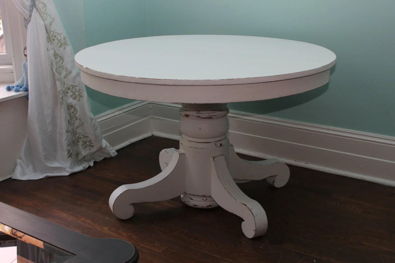 round pedestal table white distressed kitchen table custom order Antique Dining Table White Distressed Shabby Chic round pedestal Cottage Prairie kitchen