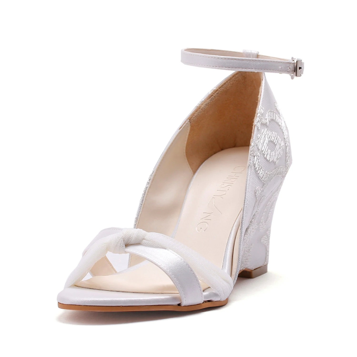 bella bells ivory lace chiffon wedge wedding shoes wedges zoom