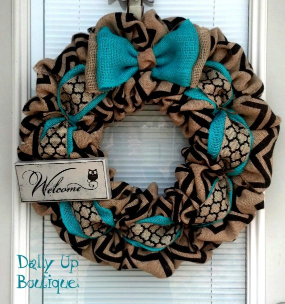 Dally Up Boutique Teal Burlap Wreath