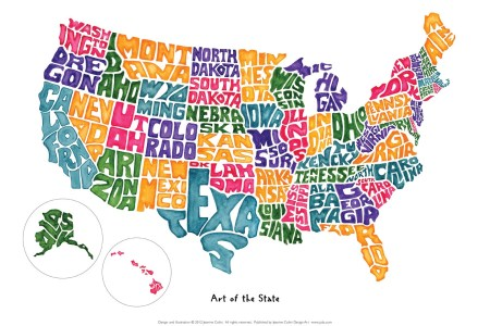 art of the state groovy geography usa map poster 14 x 20