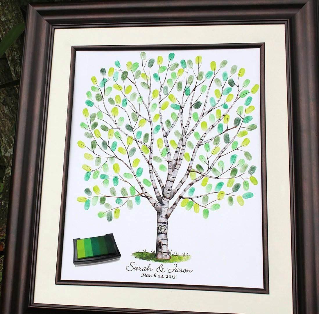 wedding tree guest book guestbook wedding tree thumbprint wedding tree guestbook fingerprint zoom