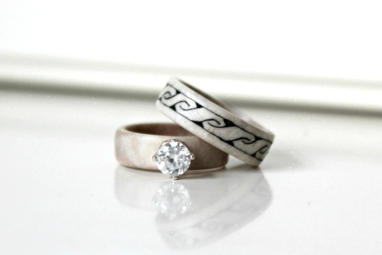 antler wedding bands antler wedding ring bohemian wedding rings zoom