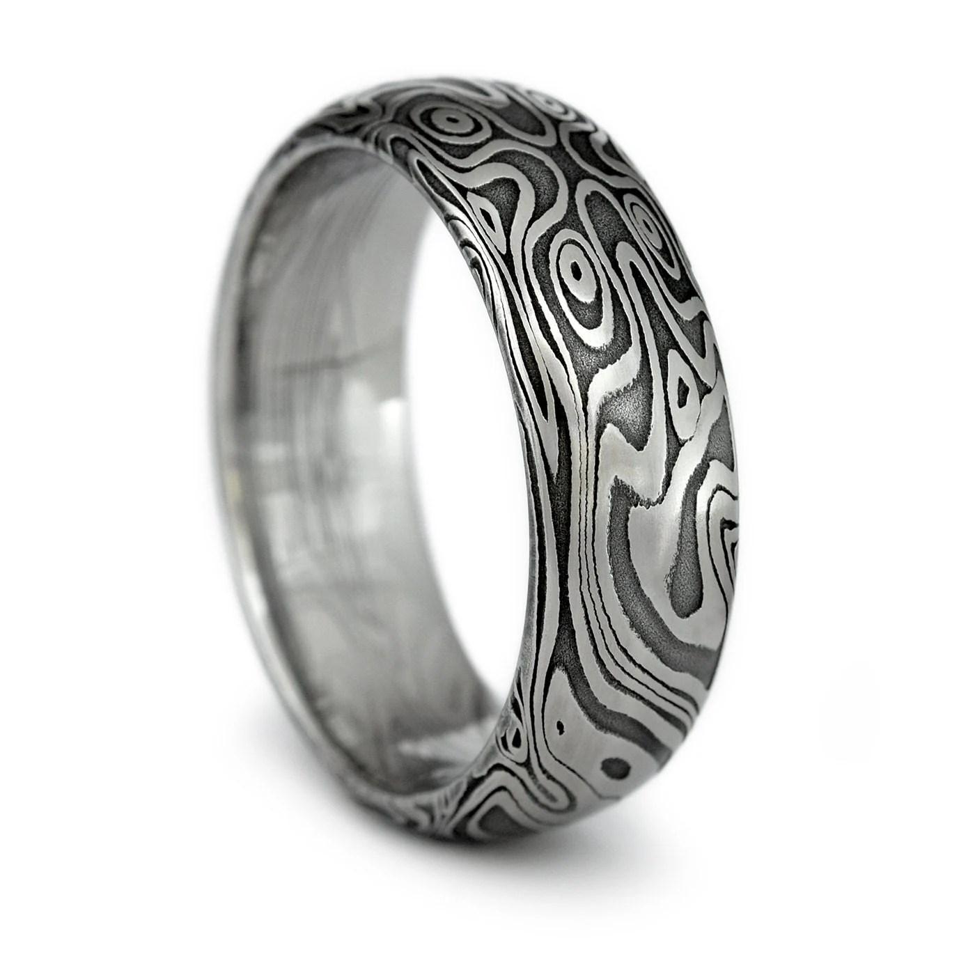 wood grain ring damascus steel mens damascus steel wedding bands zoom