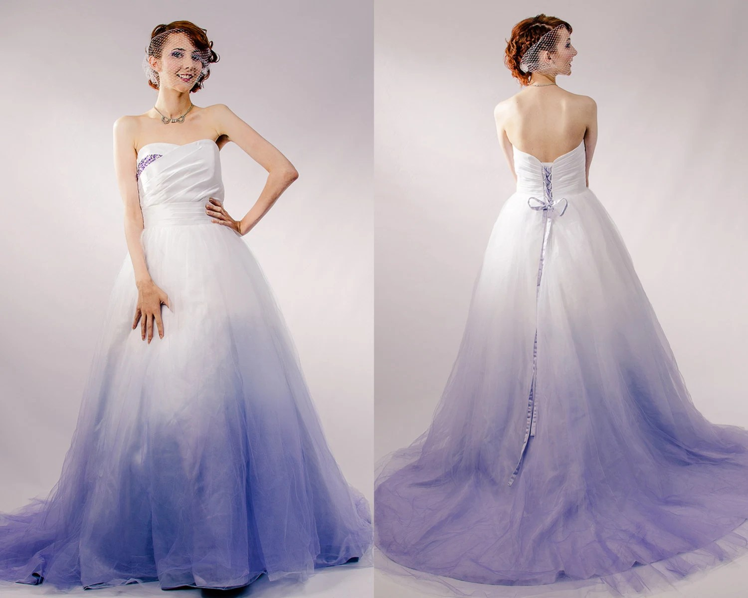 ombre wedding dress wedding dresses with color Dip Dyed Wedding Dress Purple Ombre Wedding Dress Couture Wedding Gown Colored Wedding Dress