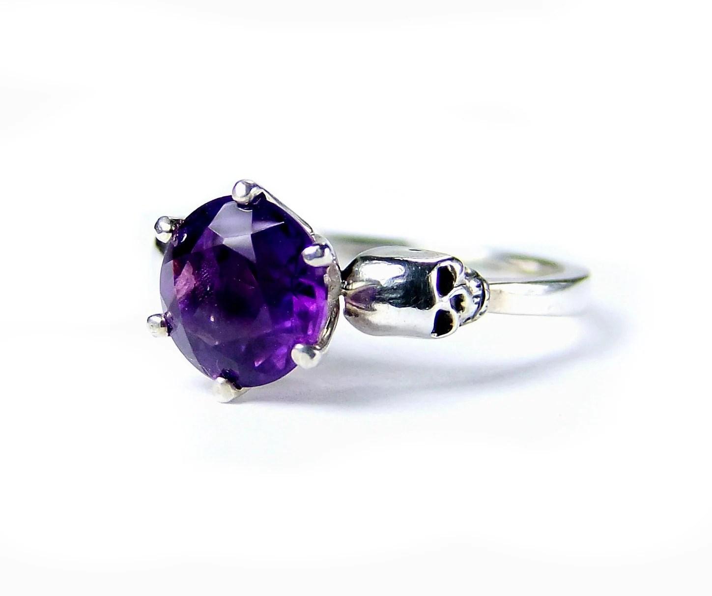 pisces ring purple wedding rings Skull Wedding Ring Silver Gothic Engagement Amethyst Skull Ring Goth Jewel Ring Purple Gemstone Ring Memento Mori Pisces Birthstone Ring