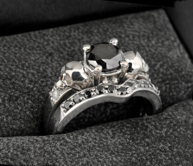 skull engagement ring set wedding ring black wedding ring sets Wedding Ring Set with 14K White Gold Black and White Diamonds zoom