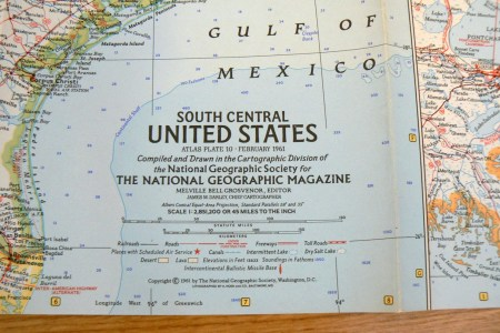 1961 vintage map south central united states national