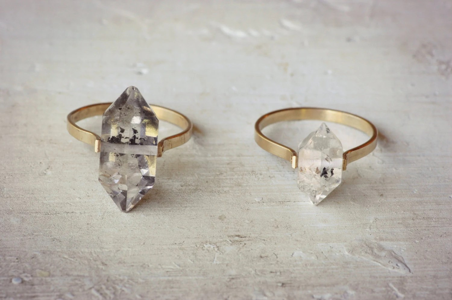 herkimer diamond ring gold fill ring bohemian wedding rings Boho Wedding Ring Clear Crystal Ring zoom