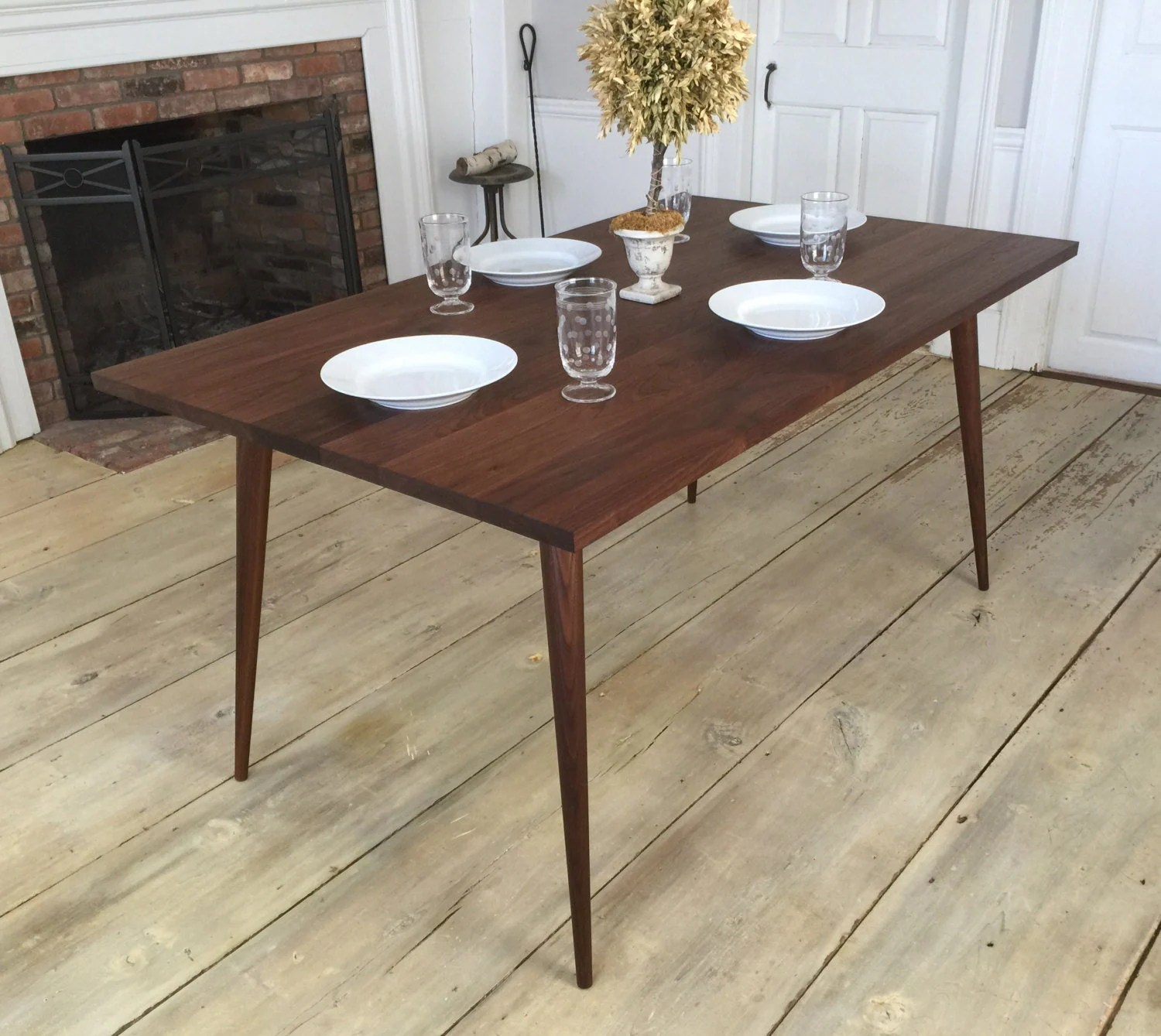 black walnut dining table mid century mid century kitchen table Black walnut dining table mid century modern featuring tapered wood legs zoom