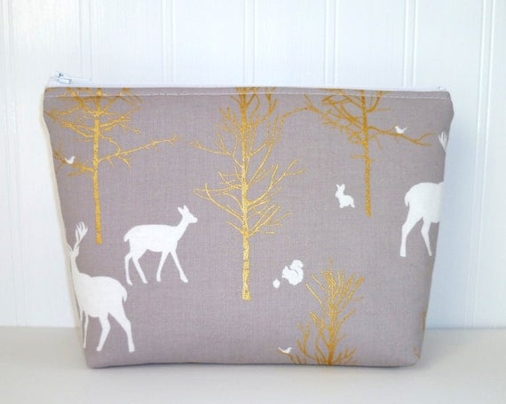 Cosmetic / Make-Up Bag. Zip Pouch, Gadget / Pencil / Phone Case - Timber Valley Grey Fog, Metallic Gold, White, Deer, Wildlife