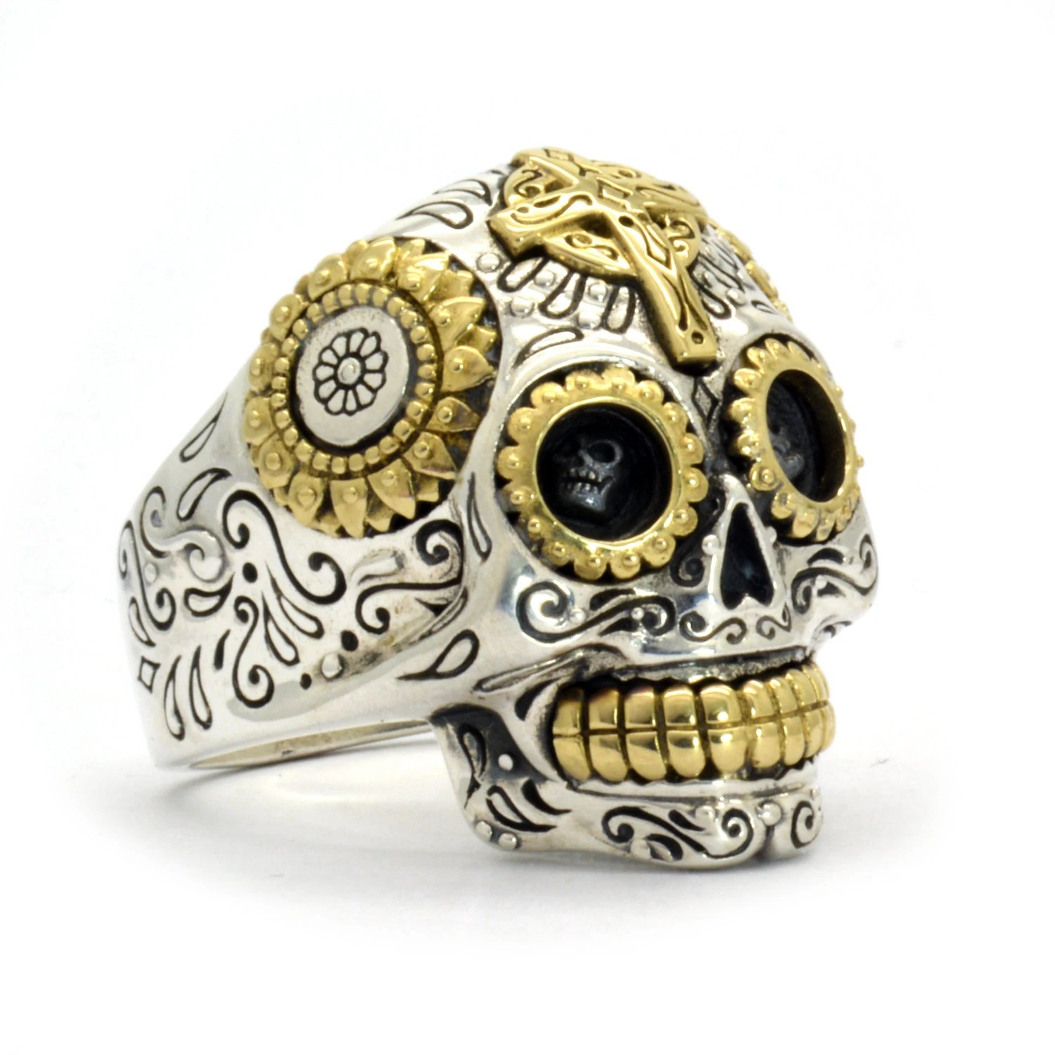 skull ring mens skull wedding rings Mexican Sugar Skull Ring Mens skull ring jewelry Mexican Skull sterling cr neo sugar skull ring biker skull crane t te de mort