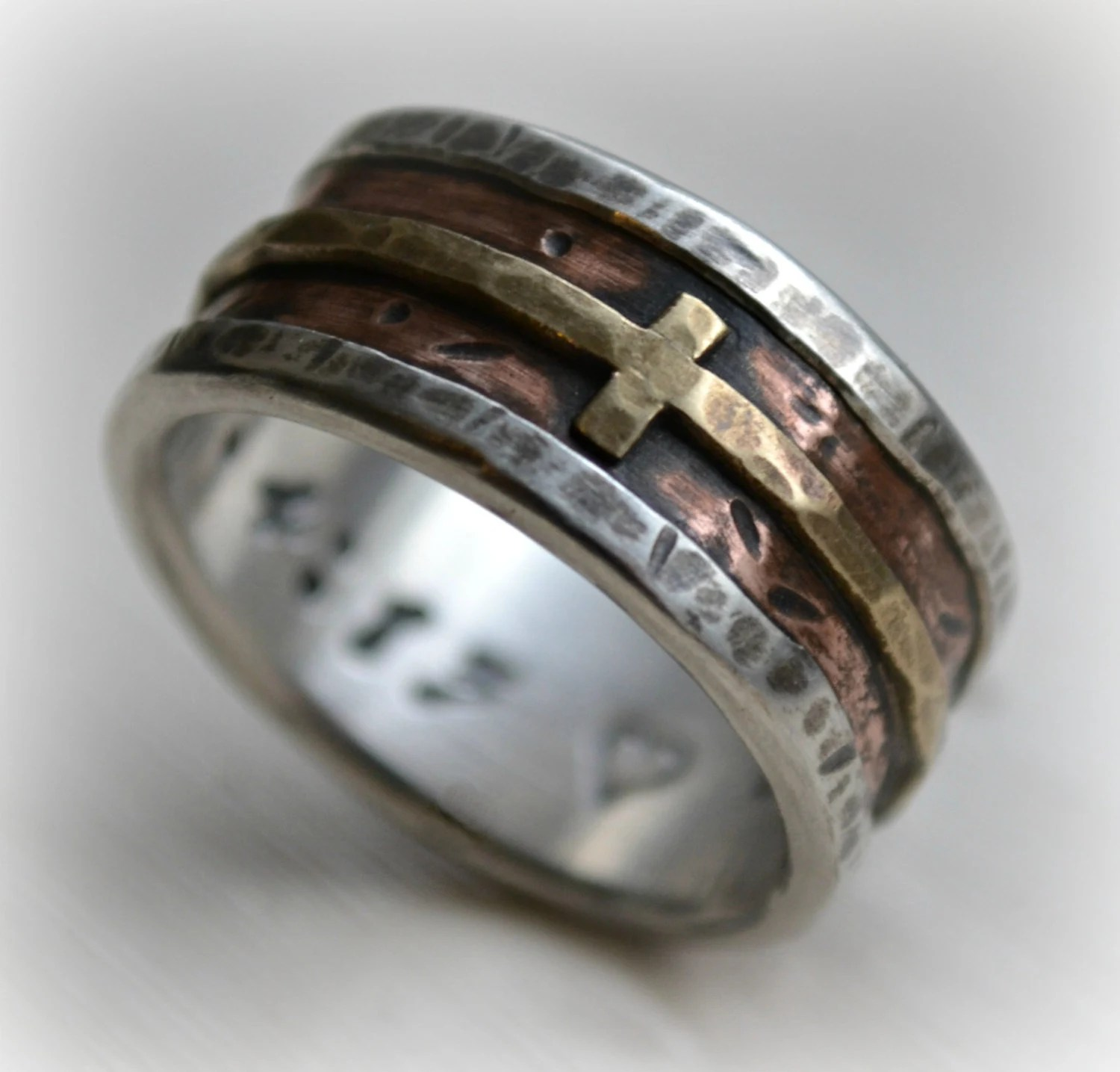 mens wedding band rustic fine silver 14k wedding bands men zoom