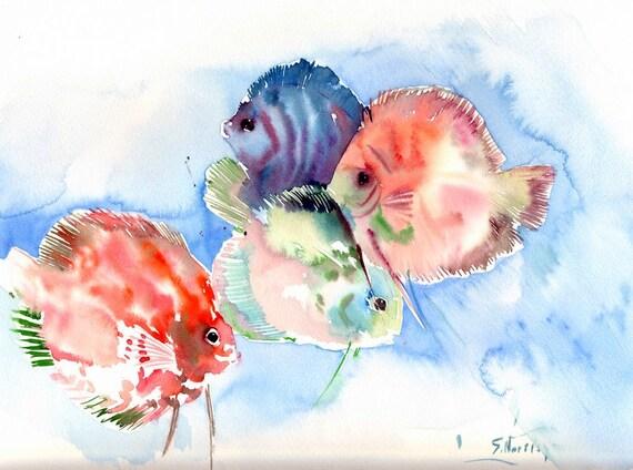 Discus Fish Painting, Colorful fish art, children art, kids wall art