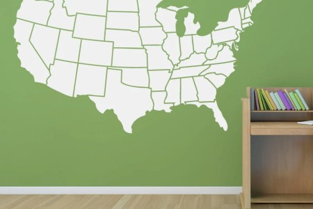 usa map wall decal states outline educational bedroom