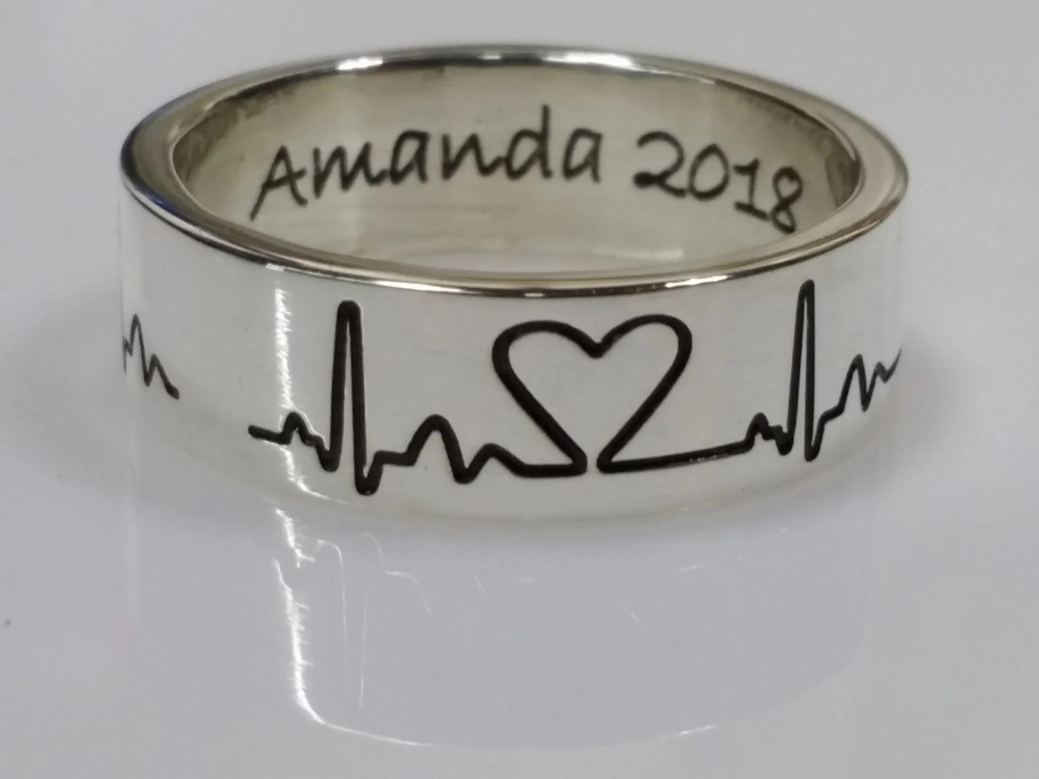 heartbeat ring wedding bands for nurses Sterling Silver Heartbeat ring EKG A heart shape is a noun a heartbeat that s a verb