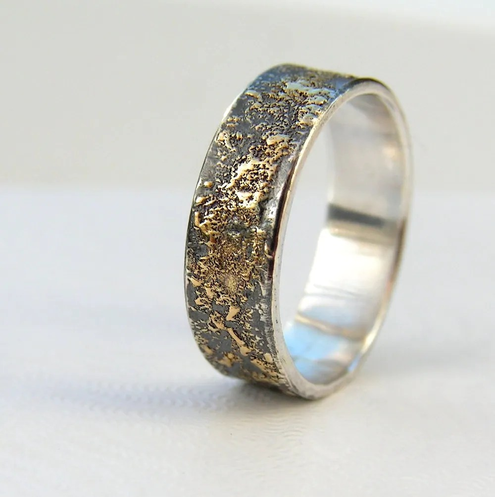 mens wedding band wedding bands men Gold Chaos Rustic Men s Wedding Ring in 18kt Gold and Oxidized Sterling Silver