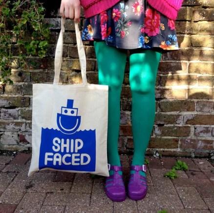 Ship Faced Tote Bag, Funny Tote, Drunk Tote Bag, Boat Tote, Canvas Shopper, Screenprinted Bag, Handprinted Cotton Shopper, Cute Tote Bag