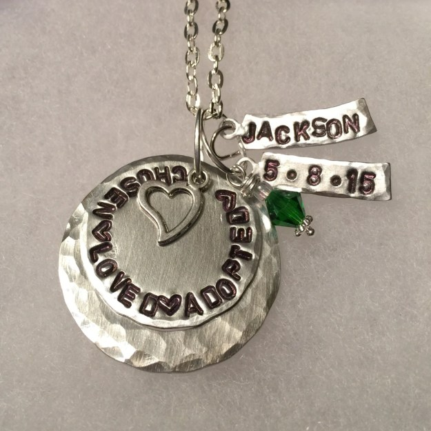 Personalized Hand Stamped Adoption Necklace