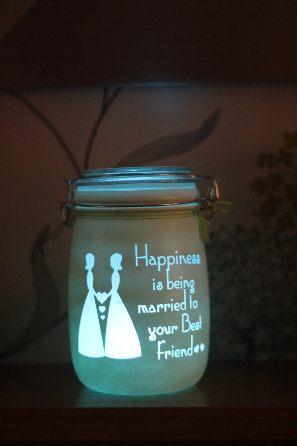 lesbian wedding lesbian wedding ideas Lesbian wedding gift Civil Partners Personalised Memory Jar Happiness is Being Married to your Best friend Wedding Gift jar of hearts