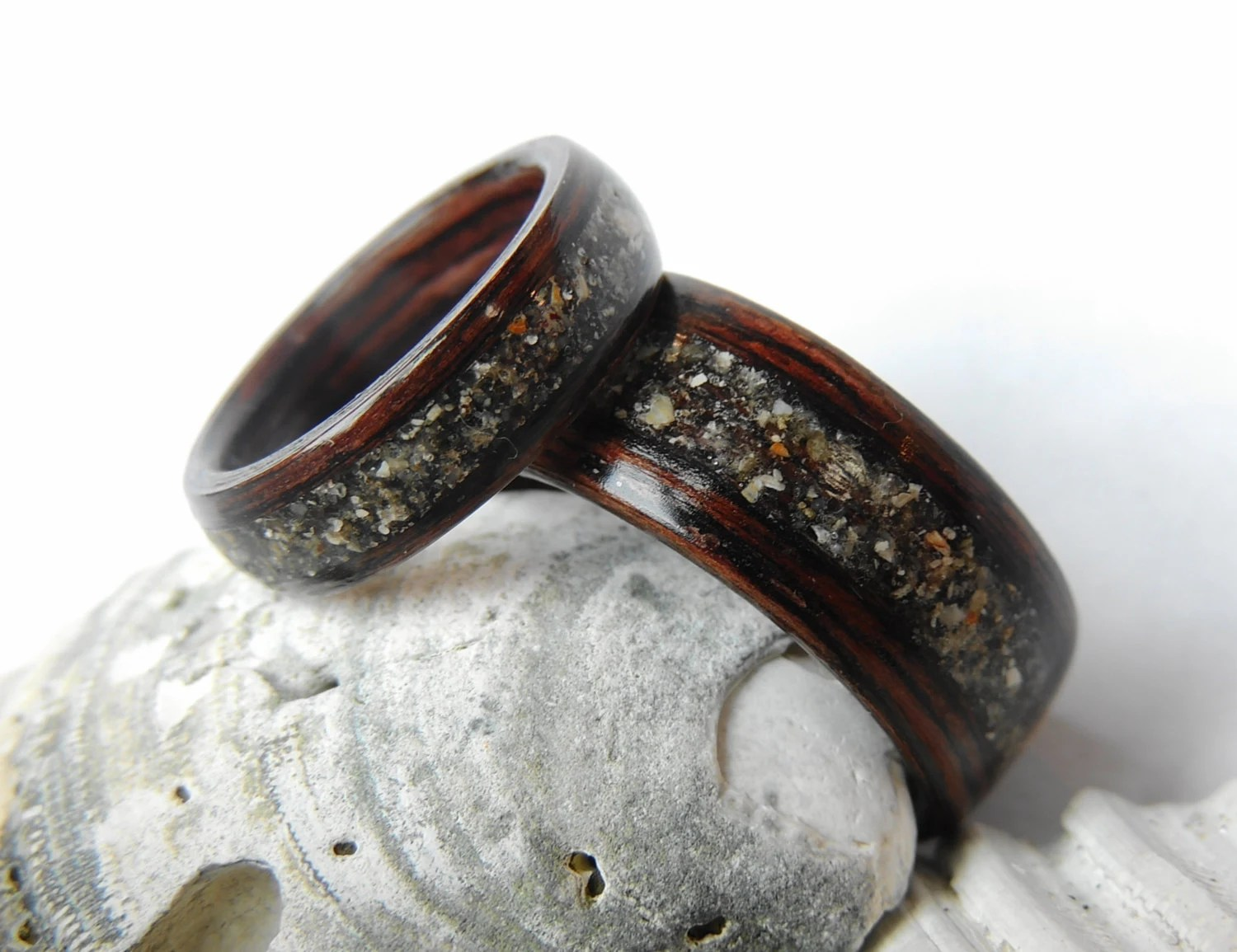 wooden wedding band wood wedding rings Bentwood Wenge and Beach Sand Wedding Band Set Non Metal Wooden Rings Wood Jewelry