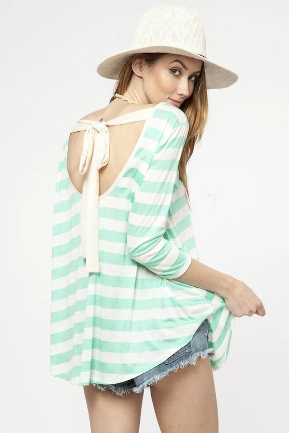 Mint Striped Top Eliza Ash Boutique