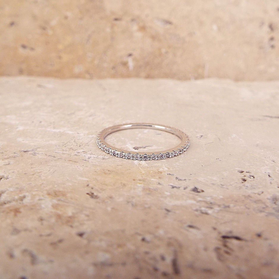 diamond stack ring stackable wedding bands 1 mm White Gold High Quality Eternity Ring CZ Diamond Ring Stacking Eternity Ring Rhodium Full Eternity Micro Pave Ultra thin Wedding Band