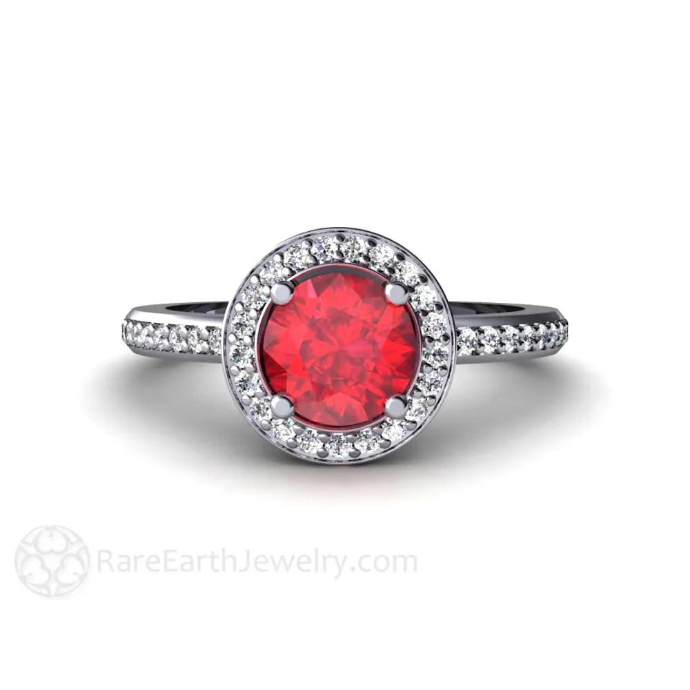 ruby wedding ring ruby wedding rings Ruby Engagement Ring Diamond Halo Ruby Ring Custom Wedding Jewelry July Birthstone
