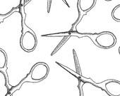 Sarah Fielke Fabric - Snippits - Scissors in White
